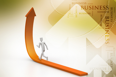 3d person running up green rising arrow Stock Photo