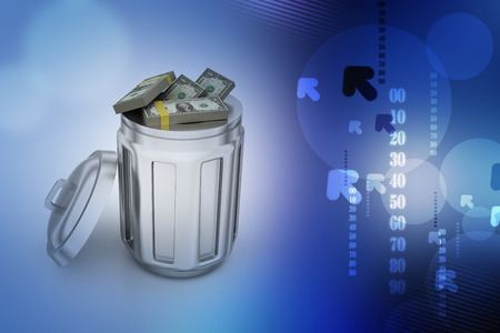 Currency note in trash bin Imagens