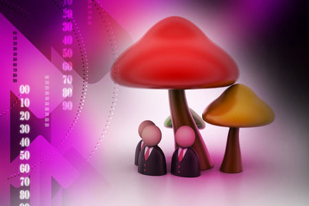 3d people icon under the mushrooms