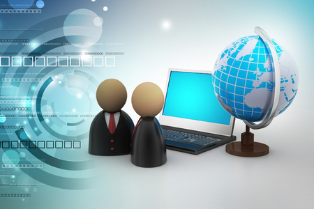 man icon with laptop and globe Stock Photo