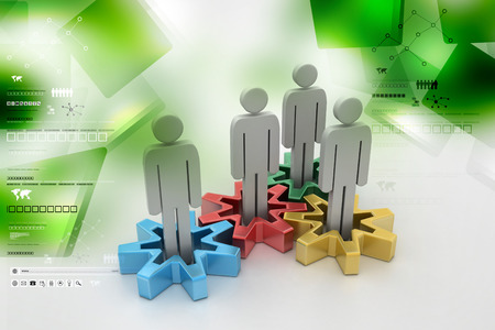 Group of stylized people stand on gears