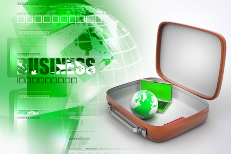 Laptop and earth globe in a brief case