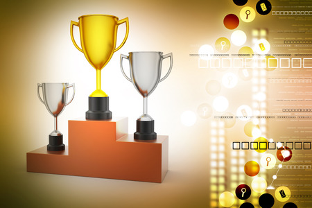 Three trophy isolated in white Stock Photo