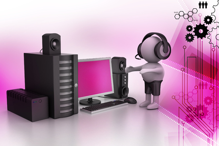 3D Man listening music with music system Stock Photo