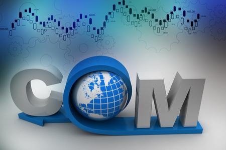 globe with word dot com