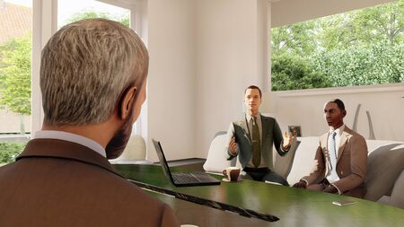 executive at a meeting in the office 3d illustration