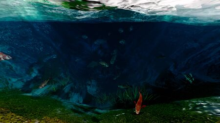 deep blue sea with fish 3d illustration