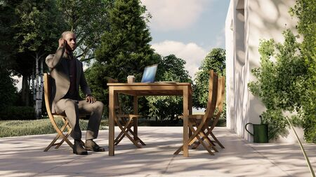 man sitting on bench in cafe talking on the phone 3d illustration