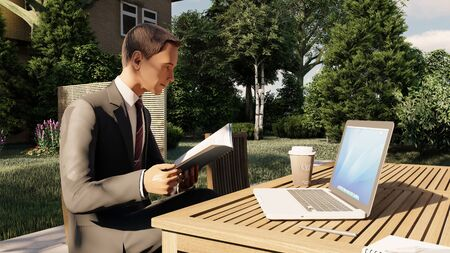 businessman working on his laptop and reading in cafe 3d illustration