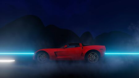 red car start running high speed on the road at night 3d illustration