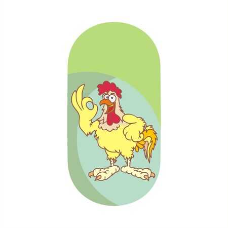 ok finger gesture cheerful chicken for mascot or online business