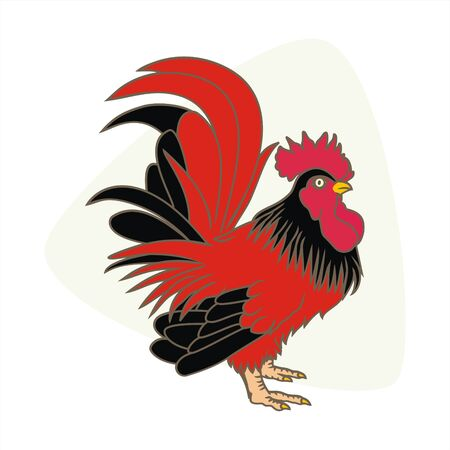 rooster isolated on white background and black red combinations vector illustrations