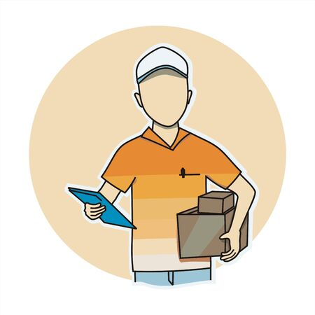 vector illustration of a delivery man in orange color scheme