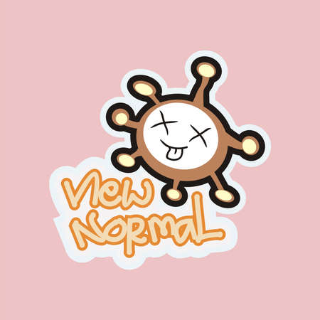 Coronavirus funny character shapes that are invincible pink background is very suitable for printing on t-shirts or as stickers can also be on paper as a cute cover. Ilustracja