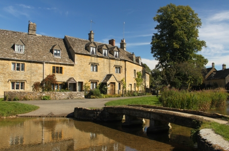 Beautiful village of Lower Slaughter, in the Cotswolds, England, UK