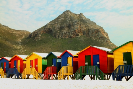 sunny south: Beach huts at Muizenberg near Cape Town South Africa
