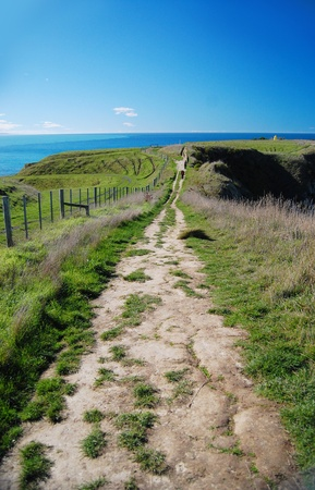 Pathway on a cliff by the sea, Kaikoura Peninsula, New Zealand Stock Photo - 17575753