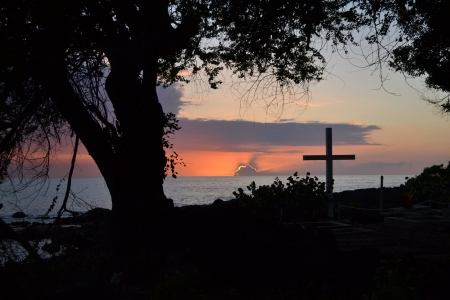 Hawaiin Sunset near a Church photo