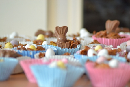 Chocolate Bunny and Egg Crispy Easter Buns photo