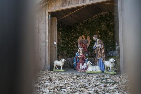 Outdoor nativity scene at Christmas market at Merano South Tyrol
