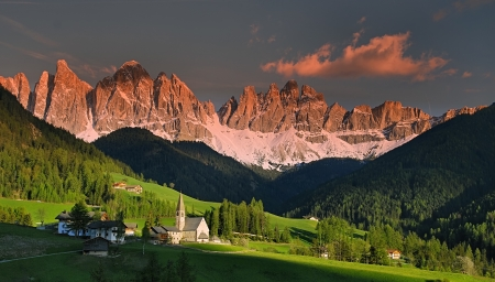 tal: Dolomites Golden hour Stock Photo