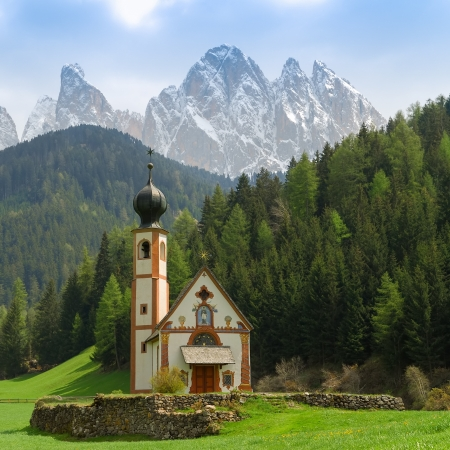 St Johann Church in spring, Santa Maddalena, Val Di Funes, Dolomites, Italy photo