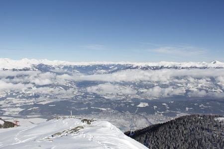 spittal: View From Top Of Gold Corner 2142m Spittal Carinthia Austria Down Into The Valley In Winter Stock Photo
