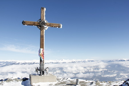 spittal: Summit Cross On Top Of Gold Corner 2.142m Spittal Carinthia Austria In Winter