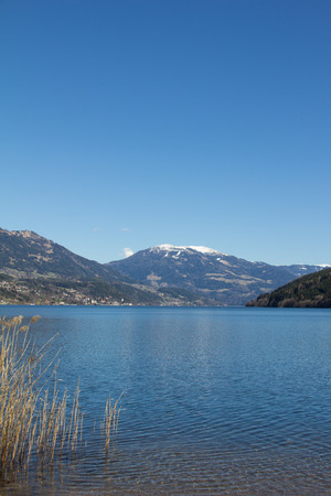 Lake Millstatt View From Westside To Mt. Mirnock In Spring Stock Photo