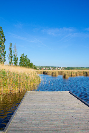 Beach In Mrbisch At Lake Neusiedl Stock Photo