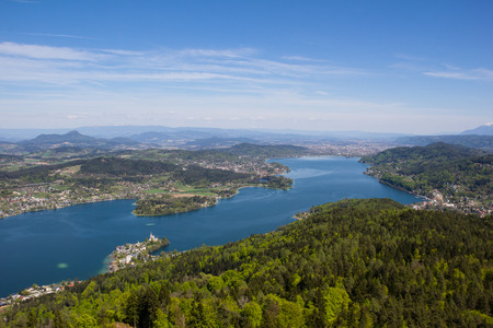 View From Observation Tower Pyramidenkogel To Lake Woerth Stock Photo