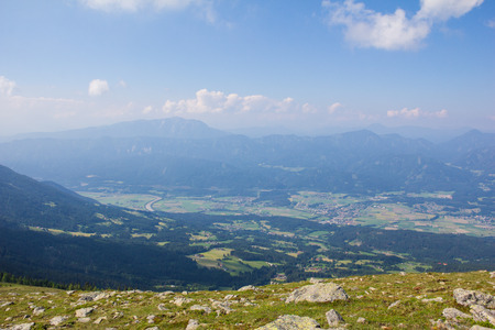 View From Mt. Mirnock Into Drautal Valley & Mountains Behind Stock Photo - 59721197