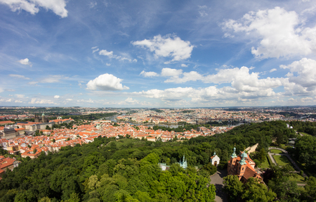 Wonderful View To The City Of Prague From Petrin Observation Tower In Czech Republic