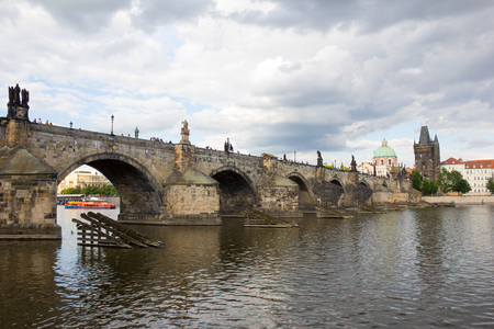Charles Bridge And Old Bridge Tower At River Vltava In Prague Czech Republic Stock Photo