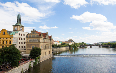 View To The City Of Prague From Charles Bridge In Czech Republic