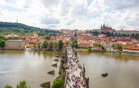 View To Charles Bridge From Top Of Old Bridge Tower In Prague Czech Republic