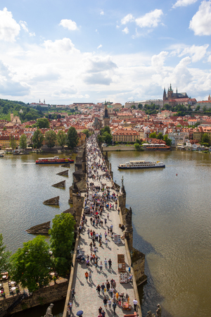 View To Charles Bridge From Top Of Old Bridge Tower In Prague Czech Republic Stock Photo - 60831010