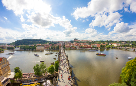 View To Charles Bridge From Top Of Old Bridge Tower In Prague Czech Republic Stock Photo - 60831005