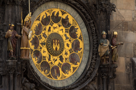 Astronomical Clock At Old Town Hall Tower In Pague Stock Photo