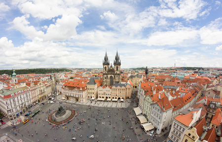 View To The City Of Prague From Old Town Hall Tower In Czech Republic