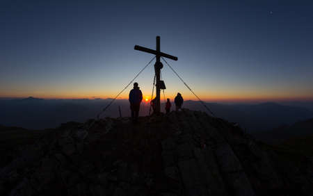 Sunrise On Top Of Mt. Mirnock 2.110m In Carinthia Austria Stock Photo