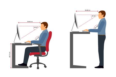 Postura correcta para sentarse y pararse al usar una computadora Ilustración de vector