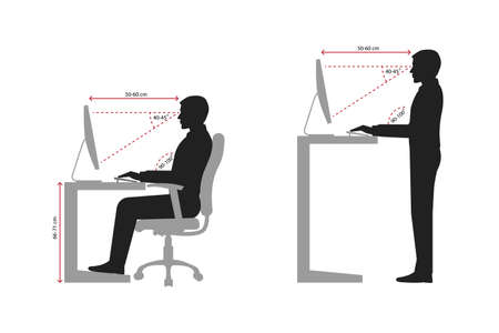 Correct sitting and standing posture when using a computer silhouette Vektorové ilustrace