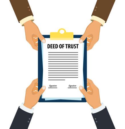 Executive handing over deed of trust document