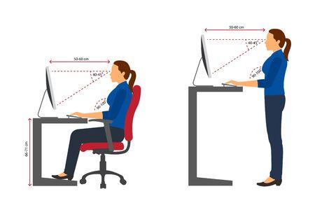 Ergonomics women correct sitting and standing posture when using a computer Vettoriali