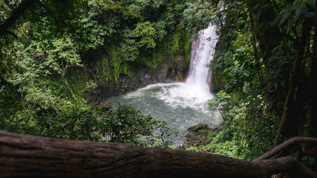 View down to the rio celeste waterfall on green season - the water color changes during this season Stock fotó