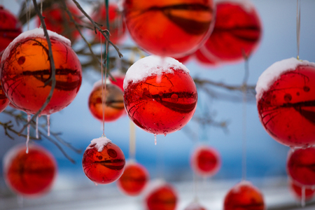 colorful reflective christmas ball ornaments outdoor with snow and icicles outdoor photo during advent against