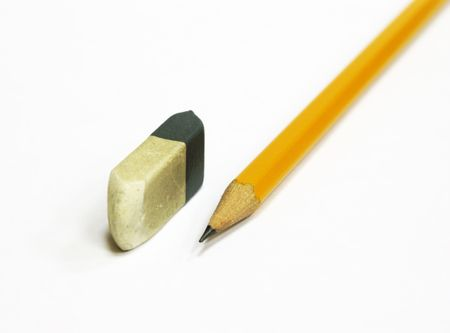 Pencil and eraser isolated Stock Photo