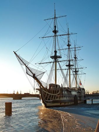 Old wooden ship, Saint-Petersburg                                Stock Photo