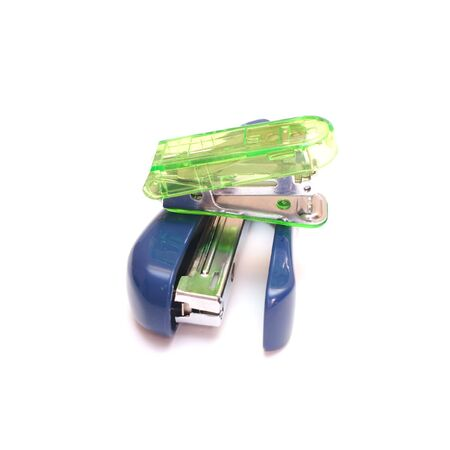 affix: Staplers green blue isolated on white background